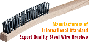 wooden handle steel wire brushes - industrial brushes manufacturers exporters in india punjab